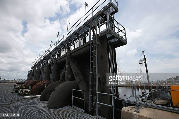 A storm gate stands as construction continues on the 17th Street Canal pump station on May 18 2015 in New Orleans Louisiana The 17th Street Canal...