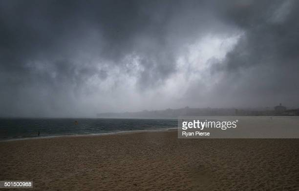 A storm hits Bondi Beach on December 16 2015 in Sydney Australia The Bureau of Meteorology issued a warning for tornadoes destructive winds large...