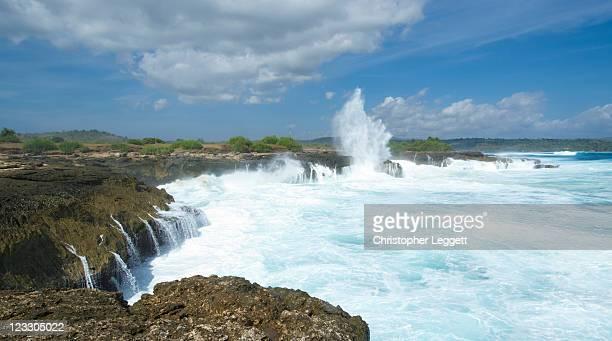 Storm Hitting Coastline On Sunny Day