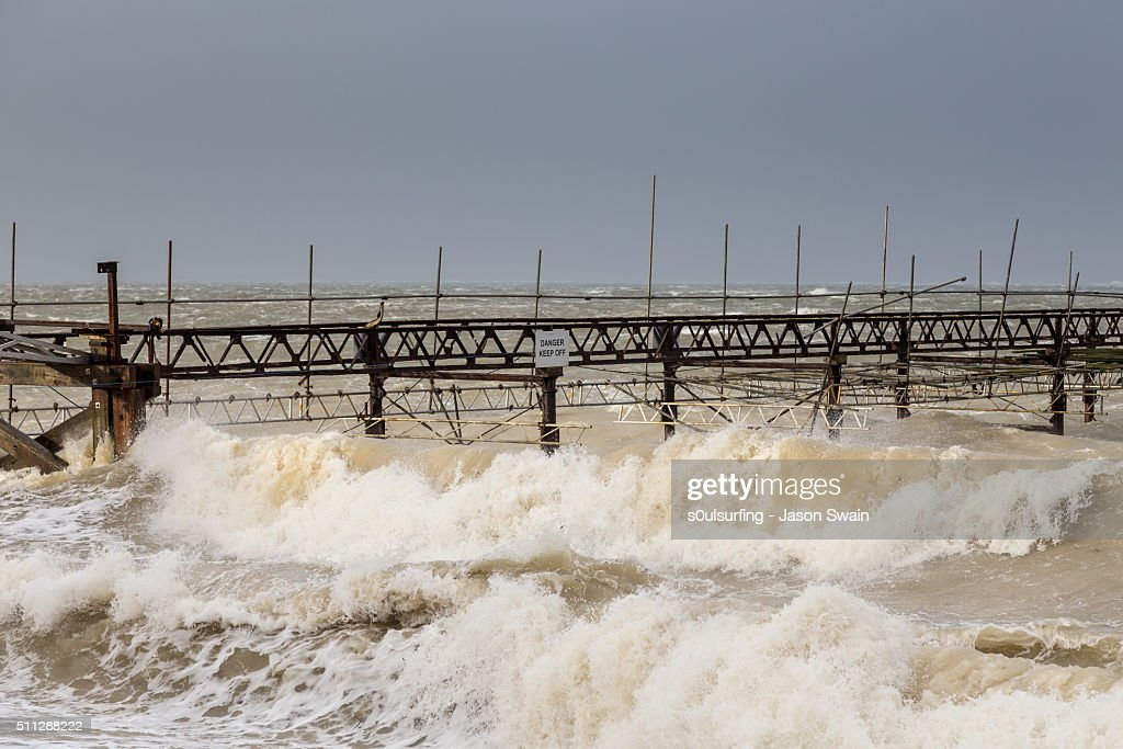 Storm Imogen hits Totland Bay on the Isle of Wight