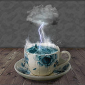 Photomanipulated image to create a raging storm in a teacup