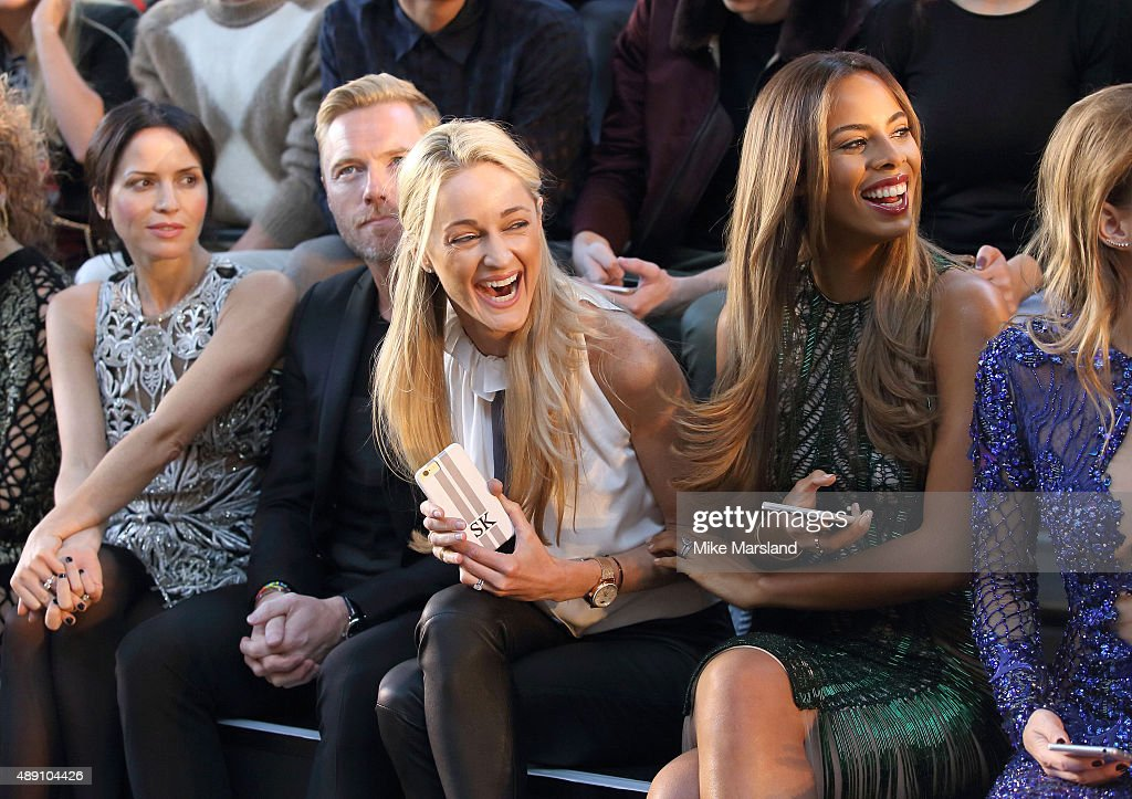 Storm Keating and Rochelle Humes attend the Julien MacDonald show during London Fashion Week Spring/Summer 2016/17 on September 19, 2015 in London, England.