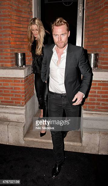 Storm Keating and Ronan Keating are seen leaving the Hamiltons Gallery Mayfair on March 4 2014 in London England