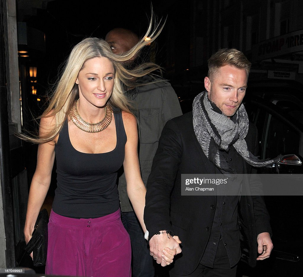 Storm Keating and <a gi-track='captionPersonalityLinkClicked' href=/galleries/search?phrase=Ronan+Keating&family=editorial&specificpeople=201657 ng-click='$event.stopPropagation()'>Ronan Keating</a> sighting at The Ivy on November 5, 2013 in London, England.