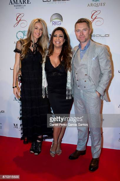 Storm Keating Maria Bravo and Ronan Keating attend at the 2nd Annual Global Gift Ronan Keating Golf Tournament Dinner and Concert on November 04 2017...