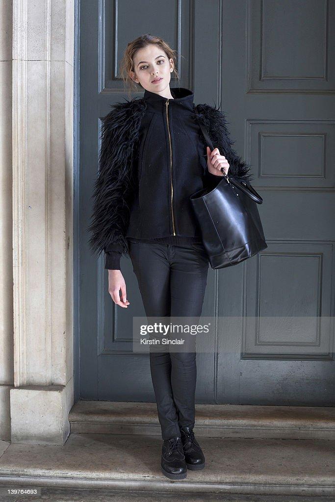 KINGDOM - FEBRUARY 21 Storm Model Aline Zanella street style at London fashion week autumn/winter 2012 womenswear shows on February 21, 2012 in London, England.