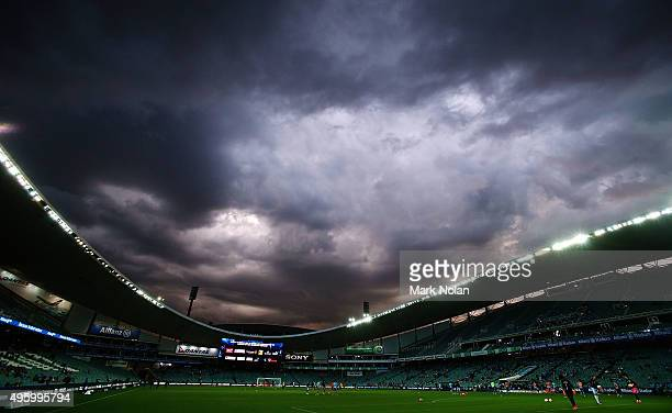 A storm moves over the ground before the round five ALeague match between Sydney FC and Brisbane Roar at Allianz Stadium on November 6 2015 in Sydney...