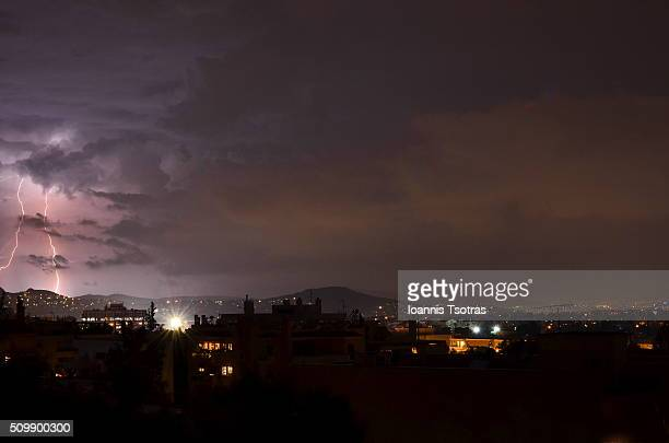 Storm over Athens Greece