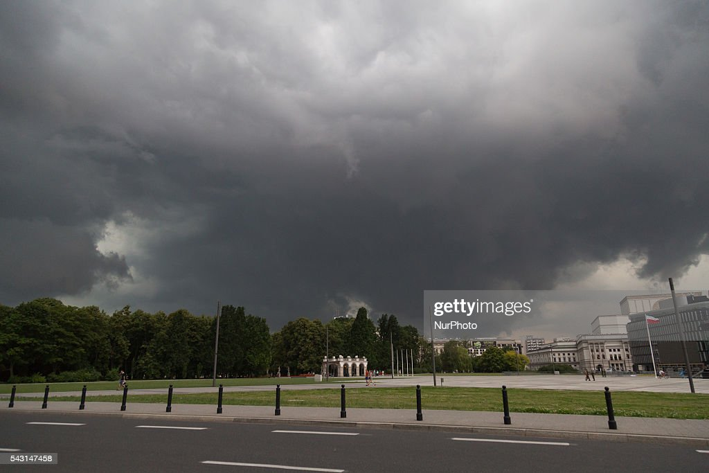 Storm over Warsaw on 26 June 2016 in Warsaw, Poland