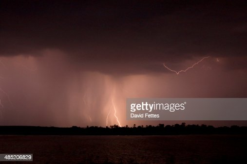 Storm over Zambezi River : Stock Photo
