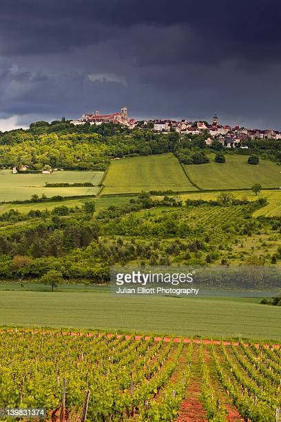 A storm passes over the village of Vezelay in Burgundy, France. This beautiful hilltop village has been protected by UNESCO as a world heritage site.
