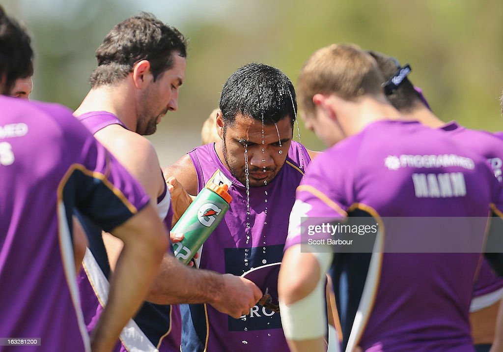 Storm players cool down during a Melbourne Storm NRL training session at Gosch's Paddock on March 7, 2013 in Melbourne, Australia.
