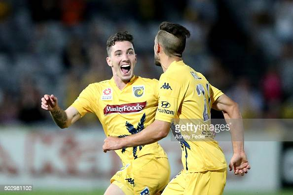 Storm Roux of the Mariners celebrates a goal with Roy O'Donovan during the round 13 ALeague match between the Central Coast Mariners and the...