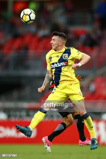 Storm Roux of the Mariners in action during the round two ALeague match between the Western Sydney Wanderers and the Central Coast Mariners at...