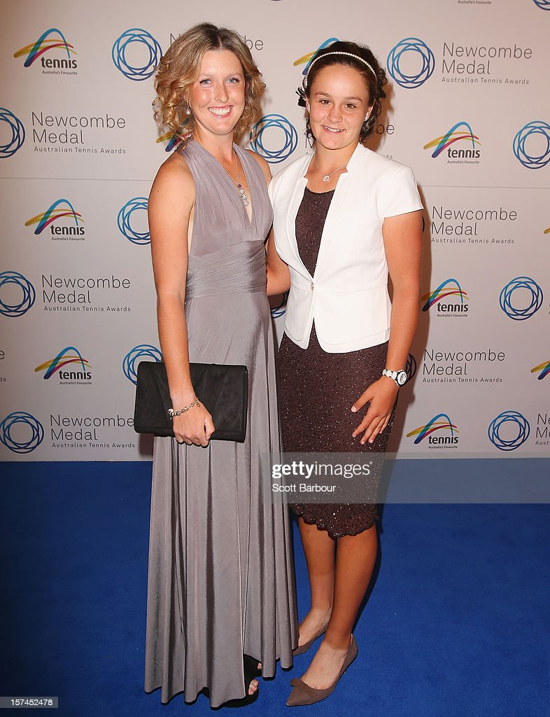 Storm Sanders and <a gi-track='captionPersonalityLinkClicked' href=/galleries/search?phrase=Ashleigh+Barty&family=editorial&specificpeople=7369424 ng-click='$event.stopPropagation()'>Ashleigh Barty</a> arrive ahead of the 2012 John Newcombe Medal at Crown Palladium on December 3, 2012 in Melbourne, Australia.