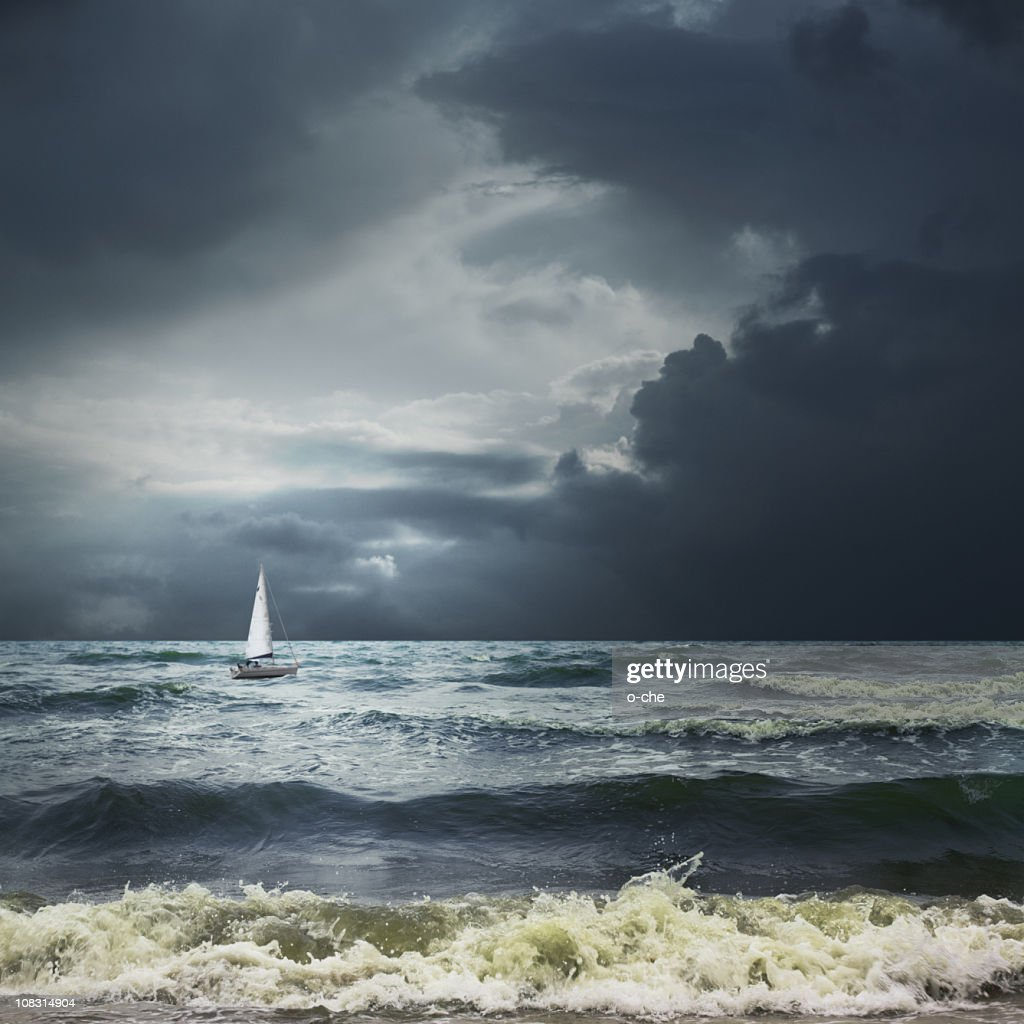 Storm sea landscape with white ship : Stock Photo
