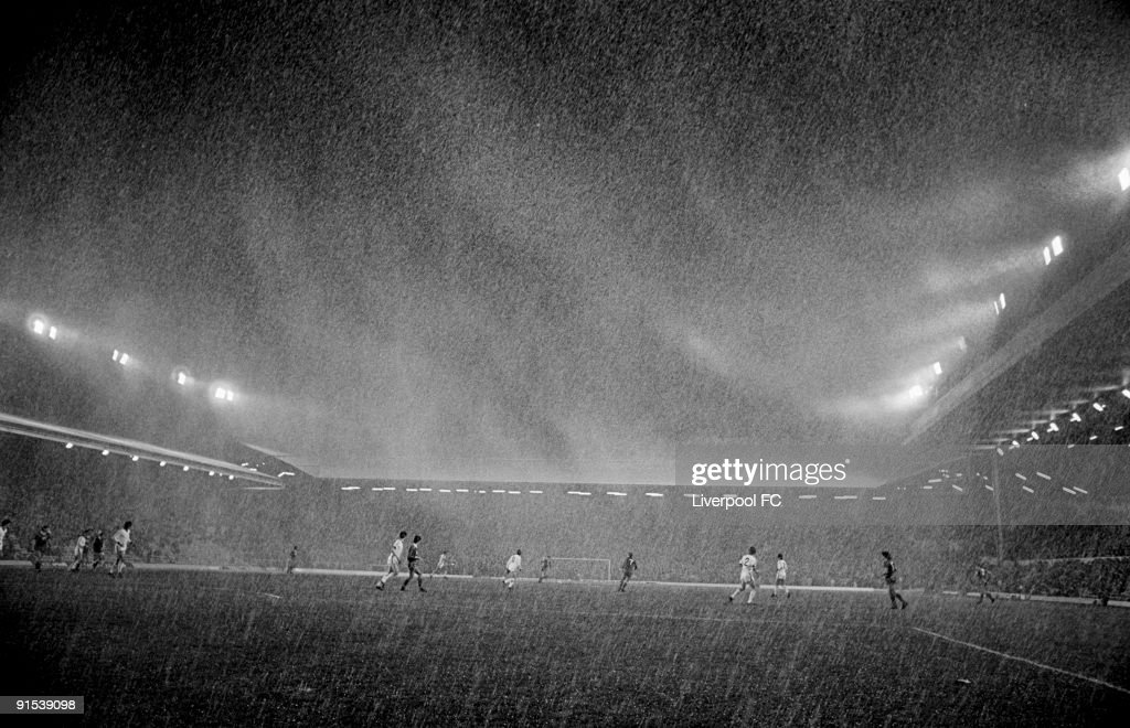 A storm takes place over Anfield during the European Cup Second Round First Leg match between Liverpool and Benfica held on October 24 1984 at...