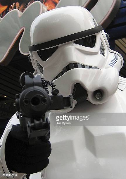 Storm Trooper is pictured outside the Empire cinema to celebrate the London premiere of the final part of the Star Wars series and the first ever...