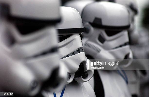 Storm Troopers arrive for the screening of 'Star Wars Episode II Attack of the Clones' May 12 2002 in New York City The Children's Aid Society...