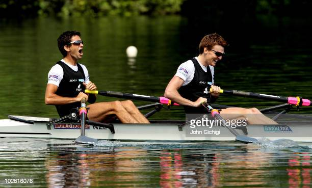 Storm Uru and Peter Taylor of New Zealand win gold in the Lightweight Men's Double Sculls Final during the FISA Rowing World Cup on July 11 2010 in...