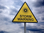 Storm Warning Sign. High Resolution Digitally Generated Image