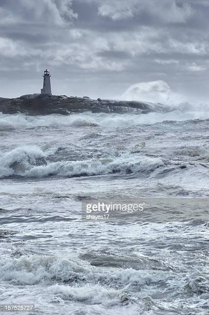 Storm waves lighthouse