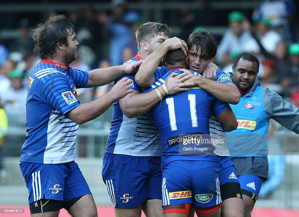 Stormers celebrates during the Super Rugby match between DHL Stormers and Toyota Cheetahs at DHL Newlands on May 28, 2016 in Cape Town, South Africa.