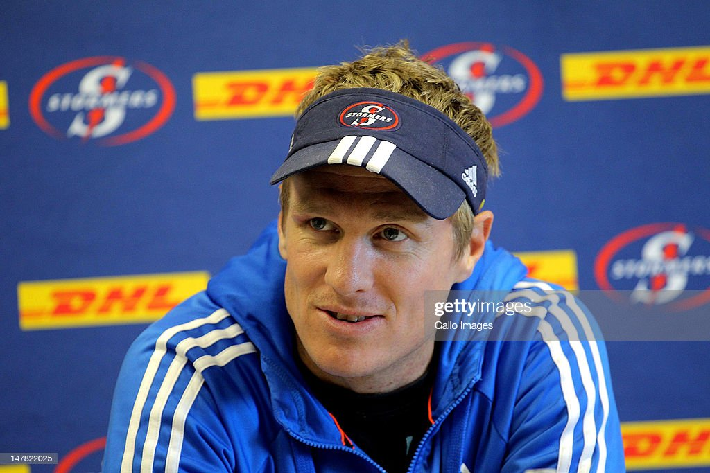 Stormers centre <a gi-track='captionPersonalityLinkClicked' href=/galleries/search?phrase=Jean+de+Villiers&family=editorial&specificpeople=2285701 ng-click='$event.stopPropagation()'>Jean de Villiers</a> during a DHL Stormers press conference at the High Performance Centre in Bellville on July 04, 2012 in Cape Town, South Africa.