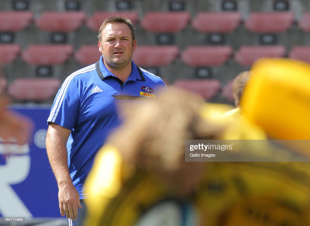 Stormers coach Matthew Proudfoot during the DHL Stormers training session at DHL Newlands on March 27, 2013 in Cape Town, South Africa.