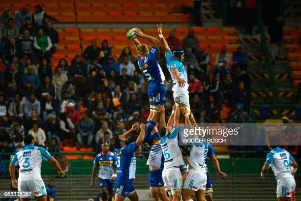 Stormers' PieterStef du Toit wins the ball in a lineout during the Super Rugby match between New Zealand's Blues and South Africa's Stormers on May...