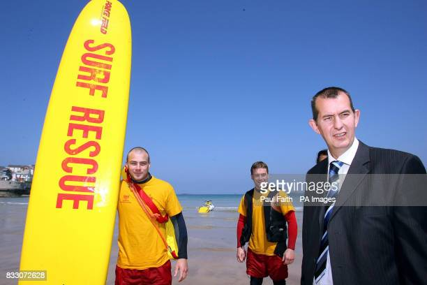 Stormont Culture Minister Edwin Poots at Portrush's east strand at the opening of a new watersports centre