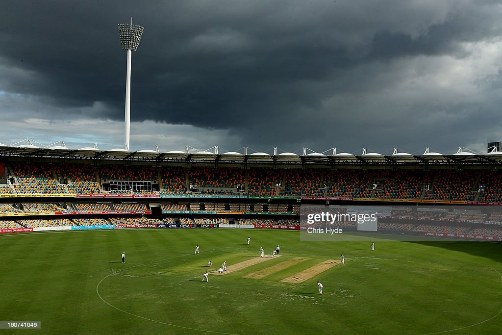 Storms aproach the ground during day two of the Sheffield Shield match between the Queensland Bulls and the Western Australia Warriors at The Gabba on February 5, 2013 in Brisbane, Australia.