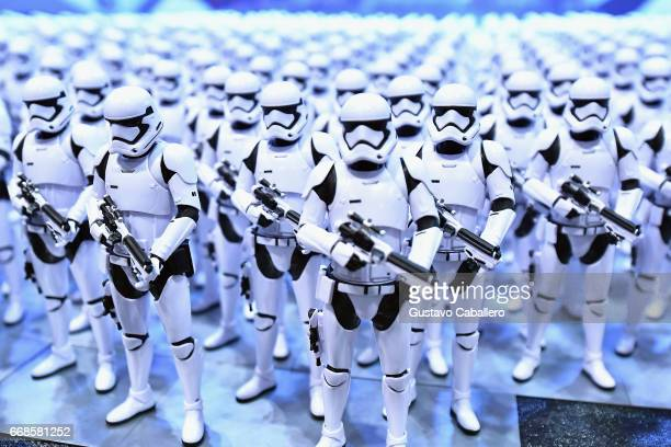 Stormtrooper are lined up at the Star Wars Celebration day 02 on April 14 2017 in Orlando Florida