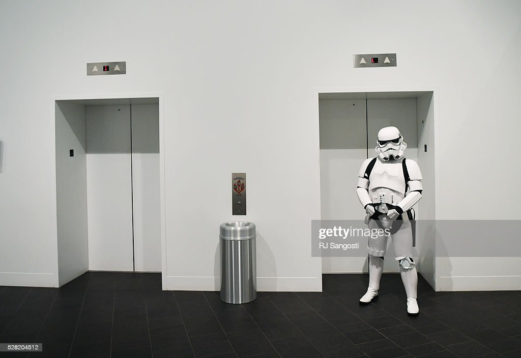 A Stormtrooper stands outside the elevator at the Denver Art Museum during a May the 4th Be With You event to kick off ticket sales for the upcoming exhibition, Star Wars and the Power of Costume, opening at the DAM in November, May 04, 2016. Costumed characters entertained fans at the museum.