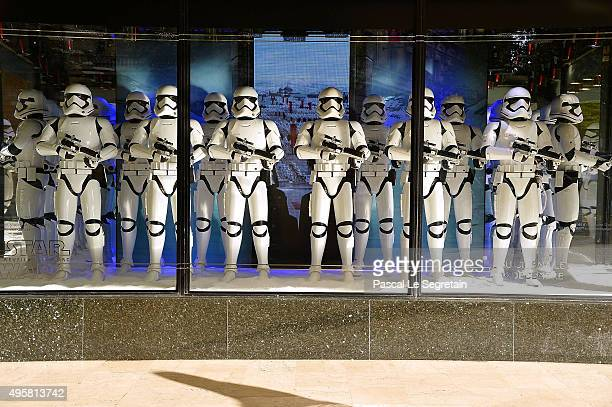 Stormtroopers are on display at Galeries Lafayette on November 4 2015 in Paris France