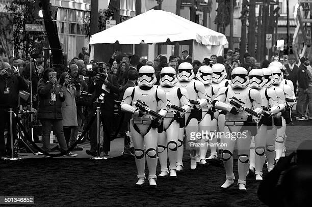 Stormtroopers arrive at the Premiere of Walt Disney Pictures and Lucasfilm's 'Star Wars The Force Awakens' on December 14 2015 in Hollywood California