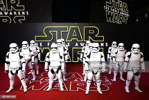 Stormtroopers arrive for the European Premiere of 'Star Wars The Force Awakens' at Leicester Square on December 16 2015 in London England