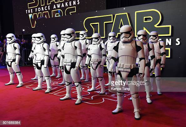 Stormtroopers attend the European Premiere of 'Star Wars The Force Awakens' at Leicester Square on December 16 2015 in London England