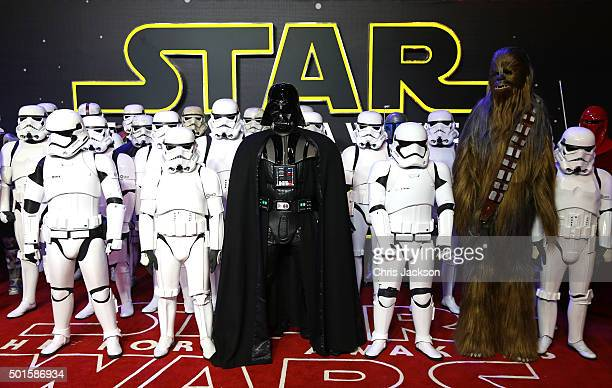 Stormtroopers Darth Vader and Chewbacca attend the European Premiere of 'Star Wars The Force Awakens' at Leicester Square on December 16 2015 in...