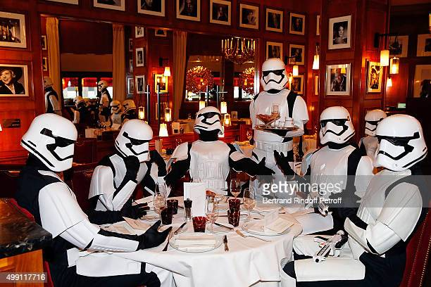 Stormtroopers' Performers Try On Their Costumes Ahead Of Star Wars Episode VII The Force Awakens Event To Be held at Le Fouquet's on November 29 2015...