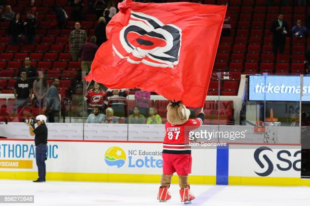 Stormy celebrating a win during the the Carolina Hurricanes game versus the Washington Capitals on September 29 at PNC Arena in Raleigh NC