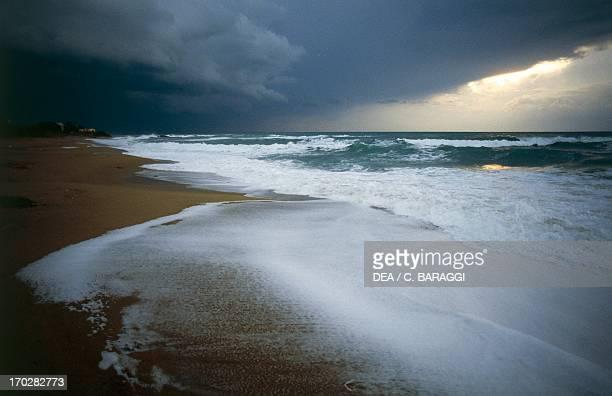 Stormy clouds on the beach of Cirella on the Tyrrhenian coast Calabria region Italy