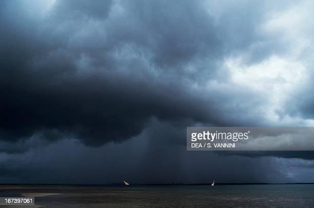 Stormy clouds over the coast of Mkokotoni Zanzibar Tanzania