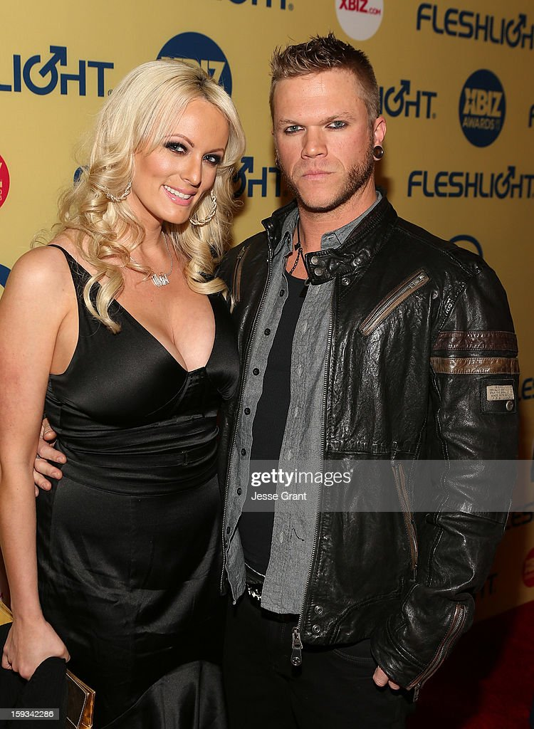 <a gi-track='captionPersonalityLinkClicked' href=/galleries/search?phrase=Stormy+Daniels&family=editorial&specificpeople=595192 ng-click='$event.stopPropagation()'>Stormy Daniels</a> and Brendan Miller attend the 2013 XBIZ Awards at the Hyatt Regency Century Plaza on January 11, 2013 in Los Angeles, California.