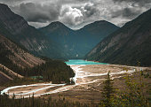 A stormy moody day overlooking Kenny Lake at Mt Robson in British Columbia