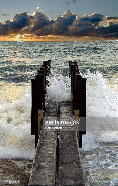 Stormy Pier at Sunset