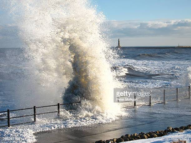 Stormy sea and breaking wave