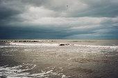 Stormy sea in Rimini, Italy