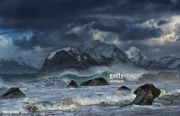 Stormy sea, Myrland, Lofoten Islands, Norway