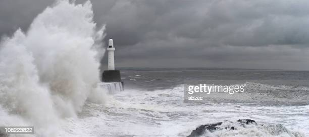 Stormy Seas and Waves Crashing at Aberdeen Harbour